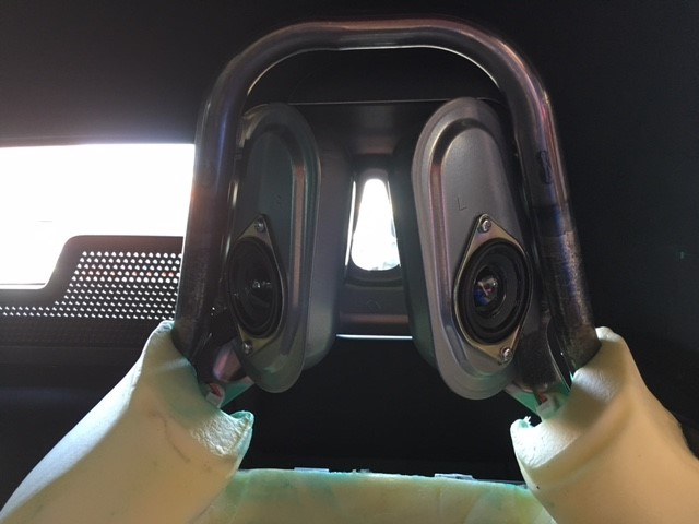 speakers mounted to seat frame