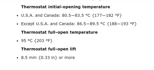 thermostat specs